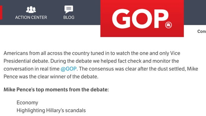 The GOP website prematurely declared Mike Pence the winner of Tuesday's VP debate.