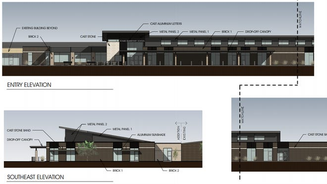 Rendering of the planned addition to Scales Elementary School in Brentwood.