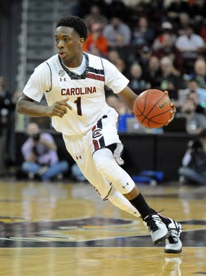 South Carolina hosts Clemson Friday, December 19, 2014 at Carolina's Colonial Center in Columbia. South Carolina guard Marcus Stroman (1)
