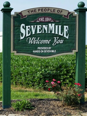 A sign outside the Ohio village of Seven Mile.