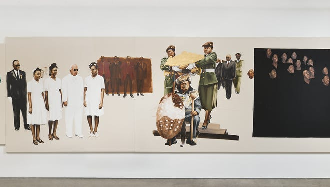 """Part II of the exhibit """"Pax Kaffraria"""" — Meleko Mokgosi's mural-size paintings that tell stories about a fictional African nation — opens Sunday, Feb. 19, at the Memorial Art Gallery."""