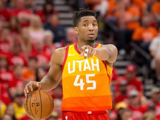 91eb8c145 USP NBA  PLAYOFFS-HOUSTON ROCKETS AT UTAH JAZZ S BKN UTA HOU USA UT. Utah  Jazz guard Donovan Mitchell ...
