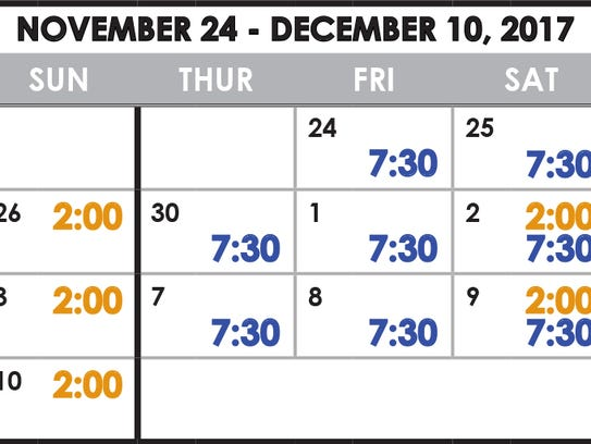 """Elf Jr., The Musical"" performance schedule"