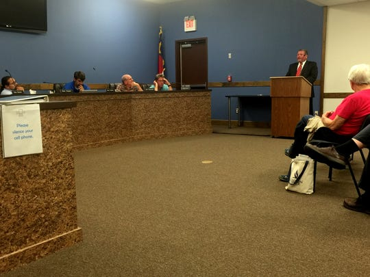 Rick Harwood addresses the planning board and members of the community during a Sept. 7 meeting.