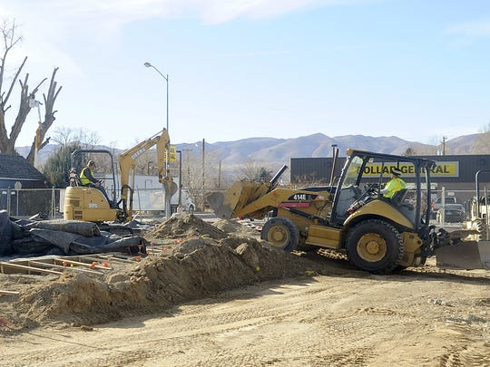 Crews work on the new teen center in Yerington.