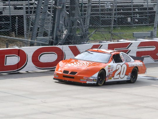 Freddie Kenton, of Milford, drives the No. 20 Home Depot stock car on Saturday at Dover International Speedway.