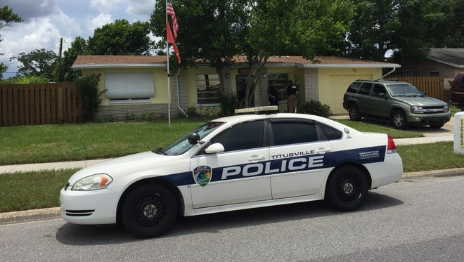 Titusville police responded to a home where a person was barricaded inside Sunday.
