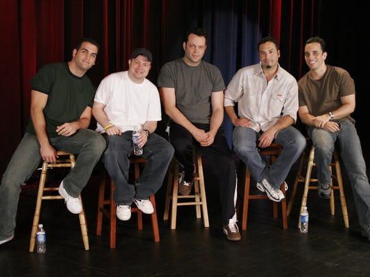 In 2005 and 2006, Sebastian Maniscalco (right) was part of Vince Vaughn's Wild West Comedy Show. The tour and film also featured (from left) Bret Ernst, John Caparulo, Vaughn and  Ahmed Ahmed.