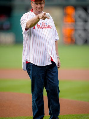 Brian Aungst prepares to throw a first pitch before Friday's Phillies game.