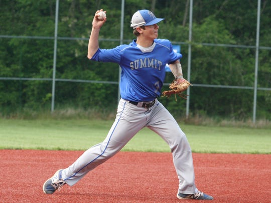 Summit Country Day shortstop Eric Fisk makes a play against Roger Bacon on May 10, 2017 in a Division III sectional game.