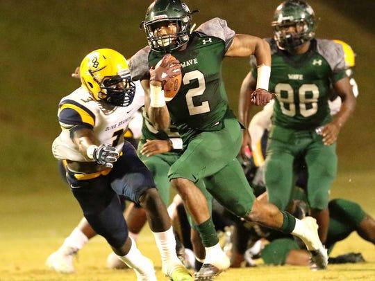 West Point High Schools Marcus Murphy (2) breaks away