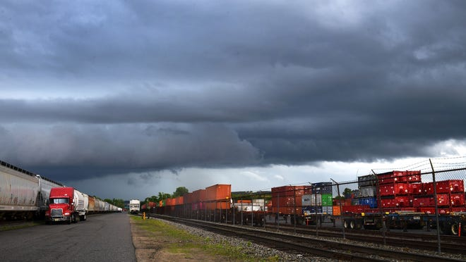 WORCESTER - Storm clouds loom after a warning for a severe thunderstorm in southern Central Mass. on Sunday, June 28, 2020. The view is from a rail yard off Greenwood Street.