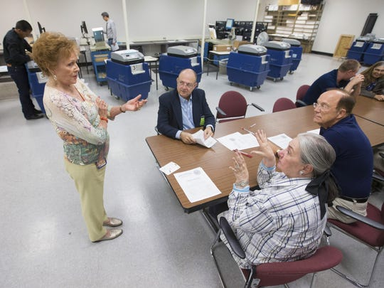 Maricopa County Recorder Helen Purcell speaks with
