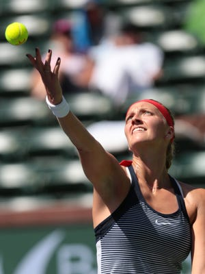 Petra Kvitova, of the Czech Republic serves to American Nicole Gibbs during the women's 4th round at the BNP Paribas Open in Indian Wells, CA on Tuesday, March 15, 2016.