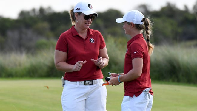 Florida State head coach Amy Bond (left) will donate $10 to hurricane relief for every birdie made by the Seminoles this fall.