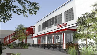 """The Hunters Station project will feature a """"kinetic wall,"""" a dog walk and patios."""