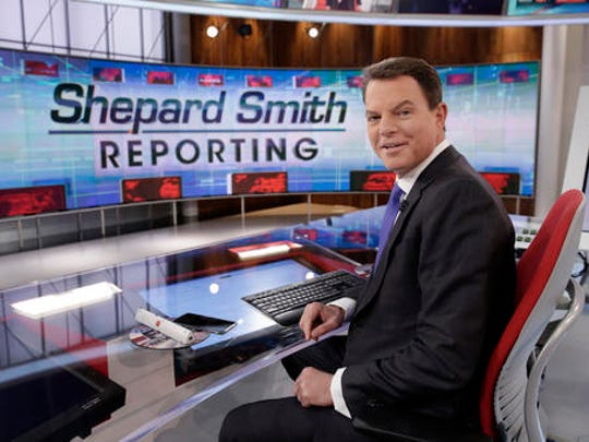 "This Jan. 30, 2017 photo shows Fox News Channel chief news anchor Shepard Smith on The Fox News Deck before his ""Shepard Smith Reporting"" program, in New York."