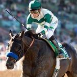 Mor Spirit and jockey Gary Stevens win the Grade II $150,000 Robert B. Lewis Stakes Saturday, February 6, 2016 at Santa Anita Park, Arcadia, CA. ©Benoit Photo