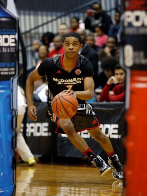 McDonald's West All-American Tyler Ulis, of Matteson, Ill., competes in the skills contest during the McDonald's All-American Jam Fest at the University of Chicago in Chicago, on Monday, March 31, 2014.  Ulis will attend the University of Kentucky.