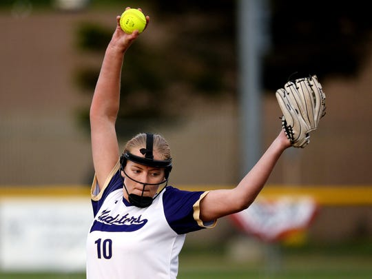 Fowlerville's Leah Ash pitches to a Grand Ledge batter