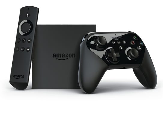 The Amazon Fire TV set-top box with voice remote and