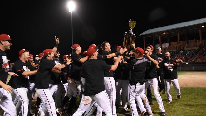 The High Desert Mavericks celebrate the Cal League Championship.