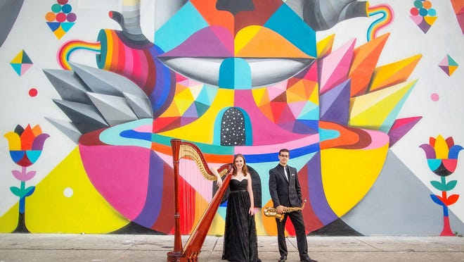 The Kontra Duo (Kristina Finch on harp and Dannel Espinoz on sax) is playing on Easter afternoon at B Sharp's Cafe.
