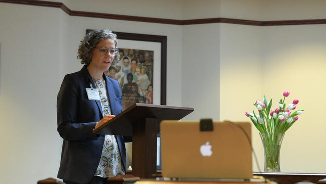 St. Luke's Network Director of Pastoral Care Rev. Mary Catherine Cole leads a COVID-19 memorial service.