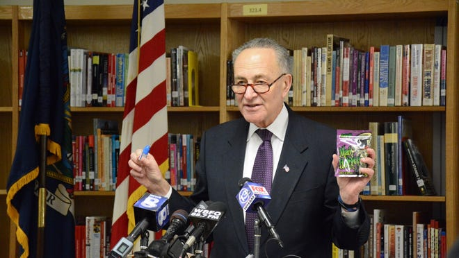 U.S. Sen. Charles Schumer appeared Monday morning at Batavia High School urging a ban on new synthetic drug combinations. Four Batavia students became severely ill after experimenting with a synthetic drug called Cloud 9.