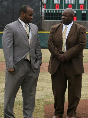 In this composite, Brian-Bilal (left) and Joseph Armstead are pictured during a ceremony to dedicate the Piscataway Tech baseball field in 2015.
