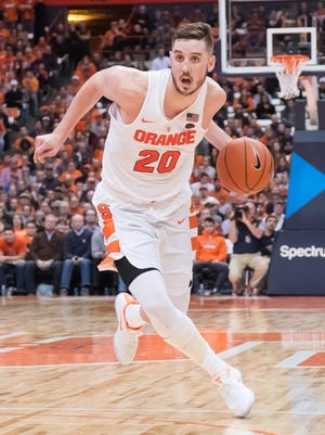 Syracuse's Tyler Lydon, a Pine Plains graduate, drives the ball during a Jan. 4 game against Miami in Syracuse.