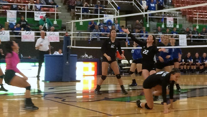 Archer City watches a ball sail out of bounds for another point as the Lady Cats won the Region I-2A Championship Saturday at the The Coliseum in Snyder. Archer City defeated Windthorst 25-16, 25-17, 25-18.