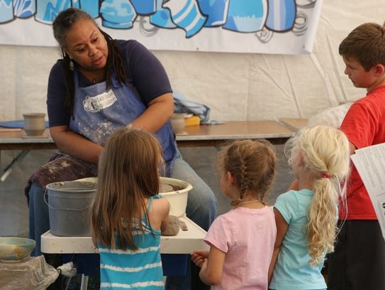 Tennessee Craft Fair, demo at the kids tent, September