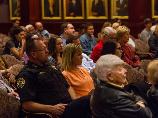 Community members attend debates for city council and mayor candidates at Southern Utah University by the Michael O. Leavitt Center for Politics & Public Service, Tuesday, October 17, 2017.
