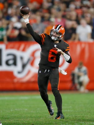 Cleveland Browns quarterback Baker Mayfield throws against the New York Jets during the first half of an NFL football game, Thursday, Sept. 20, 2018, in Cleveland. (AP Photo/Ron Schwane)