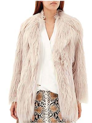Faux-fur coat, $170, RiverIsland.com.
