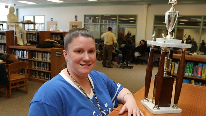 Colleen Stritmater, from Suffern High School, is the coordinator of the Rockland County Academic League. Here she is pictured during the competition, March 12, 2015 at Suffern High School.
