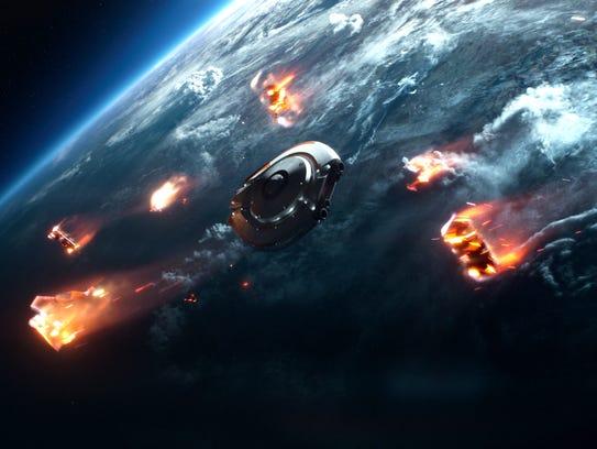 The Robinson's spaceship, the Jupiter 2, hurtles through