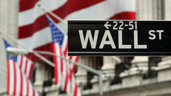 The Wall Street sign near the front of the New York Stock Exchange.