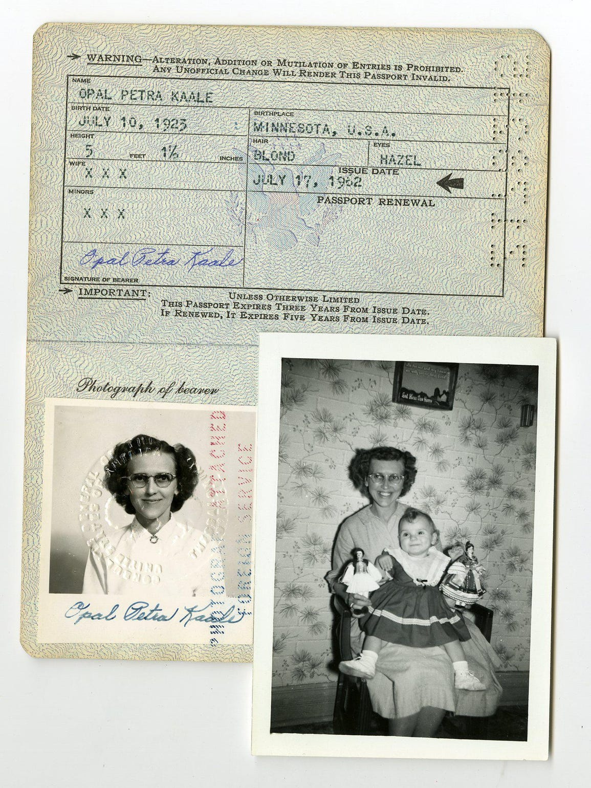 The passport of Kim Kruse's adoptive mother, Opal Kaale,
