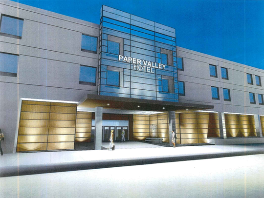 A rendering of the outside of the Radisson Paper Valley