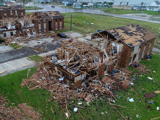 Hurricane Harvey blew apart the Saltgrass Landing Apartments in Rockport.