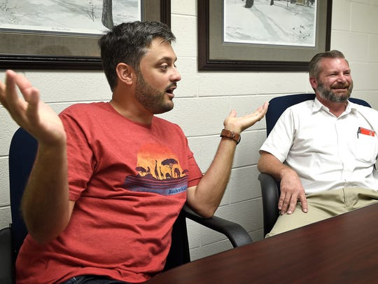 Nationally known comedian Nate Bargatze, left, talks with former co-worker Michael Clay at West Wilson Utility District in Mt. Juliet, where the two first met. Clay convinced Bargatze to quit their jobs and move to Chicago to launch comedy careers.  Wednesday Sept. 14, 2016, in Mt. Juliet, Tenn.