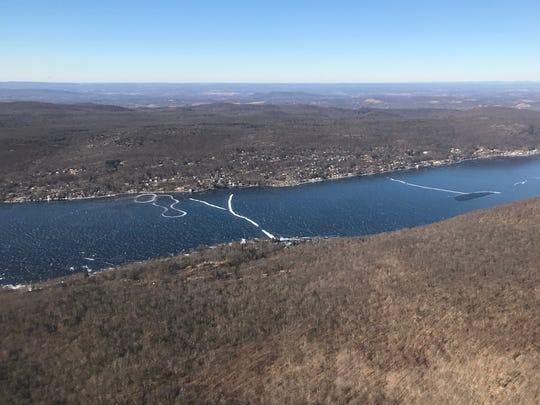 An aerial photograph of a frozen northern end of Greenwood Lake, on the New York side from Jan. 14, 2018.