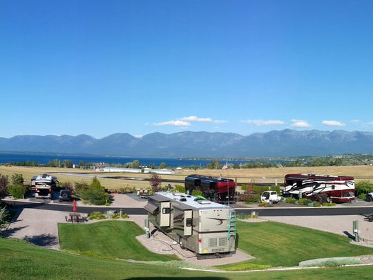 One of the more spectacular campsites we've enjoyed was situated on a hillside overlooking Flathead Lake in Montana.