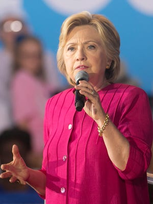 Democratic presidential candidate Hillary Clinton speaks during a campaign stop at the Broad Street Market on Friday, July 29, 2016, in Harrisburg. Amanda J. Cain photo