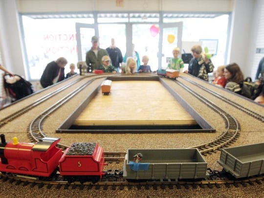 A toy train is operated inside of Function Junction in Central during the Central Railroad Festival.