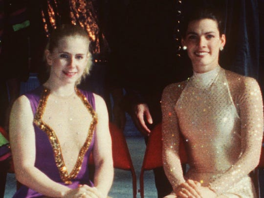 The real Tonya Harding (left) and Nancy Kerrigan during the 1994 U.S. Figure Skating Championships.