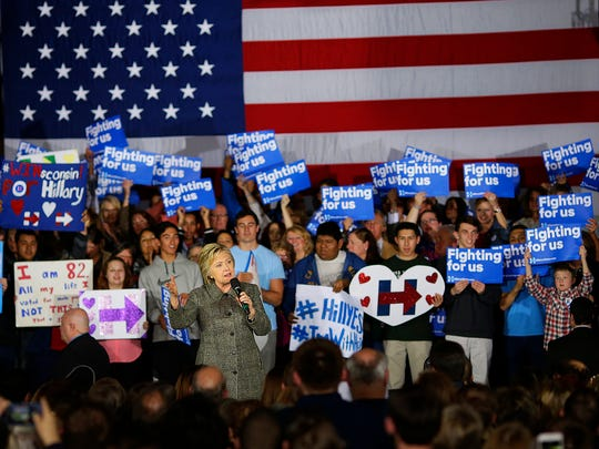 Democratic presidential candidate Hillary Clinton makes a campaign stop March 29, 2016, at the Riverside Ballroom in Green Bay.