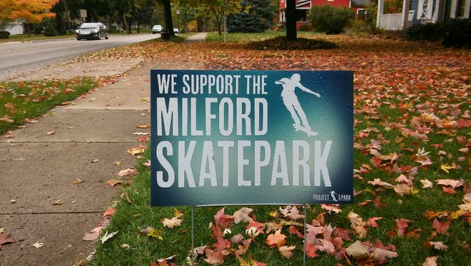 A resident signals support a few months ago for the proposed skate park.
